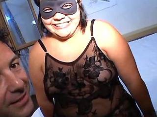 Chubby girl in mask with huge ass licked by guy