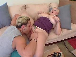 Chubby blonde with huge tits sucks big cock of guy