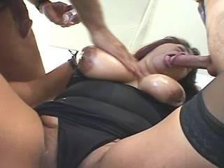 Chubby latin lady in stockings gets cum in mouth