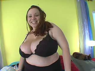 Lewd young BBW with mega sized boobs spoils horny man