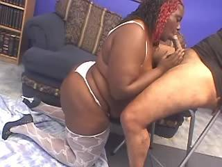 Chubby ebony woman gets cumload in her big mouth