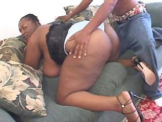 Fat ebony with huge melons sucks cock of black guy