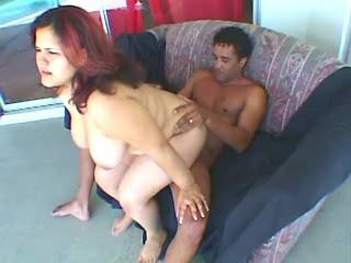 Fatty gets crazy jumps on dick and cumload on face
