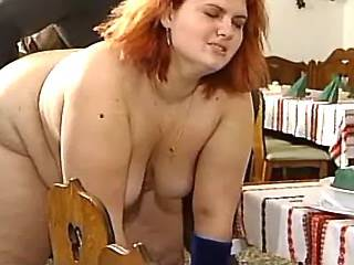Redhead fatty gets cumload on face from black cock