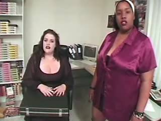 Two chubby secretaries share hard cock in office