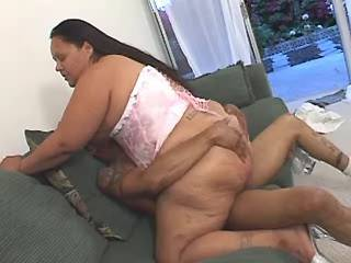 Black guy hard fucks chubby latin woman on sofa