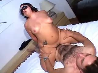 Brunette fatty in mask crazy jumps on strong dick