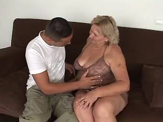 Lusty old BBW with big tits sucks appetizing cock