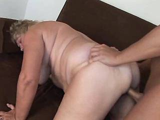 Fat granny gets hot cumload in paunch after fuck
