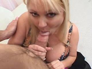 Lewd blonde fatty with huge tits sucks strong cock