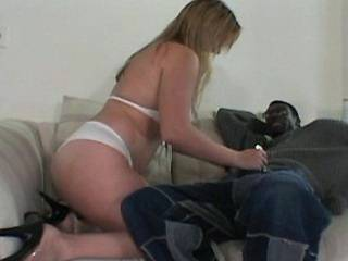 Blonde plumper crazy jumps on black cock on sofa