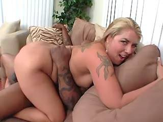 Black guy hard fucks blonde fatty with huge boobs