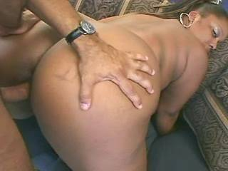 Torrid ebony BBW hard jumps on chocolate dick