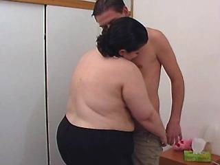 Horny fat girl spoils amateur guy and fingeried