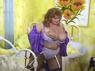 Fat mature in stockings sucks cock and titsfucks
