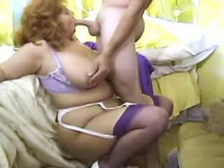 Chubby mature fucks and gets cumload on paunch