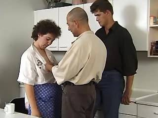 Chubby milf sucks appetizing cocks on kitchen
