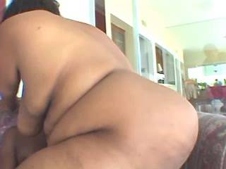 Chubby ebony gets cum on huge ass by black guy
