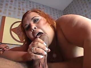 Steamy redhead BBW deep throats hard cock in bed
