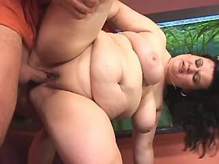 Lusty chubby whore gets cumload on massive melons