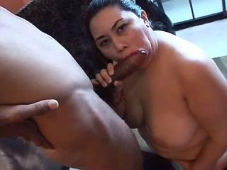 Chubby asian girl fast sucks big chocolate cock