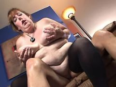 Chubby mature in stockings rides appetizing cock
