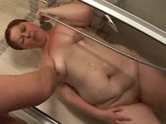 Lewd fat girl sucks appetizing cock and fucked