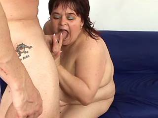 Huge woman gets cum on fat hairy pussy after fuck