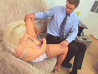 Plump blonde milf gets facial after fuck on sofa