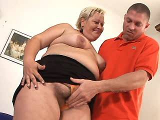 Fat aged mature sucking hard cock of horny guy