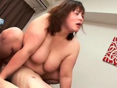 Asian fatty with hairy pussy gets cum in group