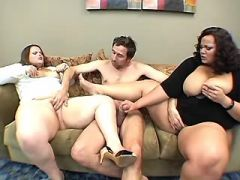 Fat whores jump on hard dick by turns in group