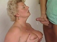 Mature BBW gets cum on round tits